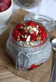 Strawberries & Cream Chia Pudding. #food