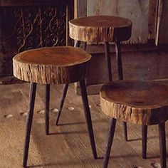 Terra Stool - Made from acacia wood atop three sturdy, hand-forged recycled iron legs, these quirky pieces make rustic stools or side tables. Some radial cracking is to be expected. Some assembly required. Sizes are approximate.