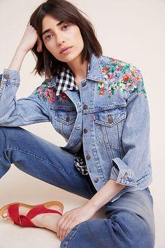 2b61deda Levi's Embroidered Ex-Boyfriend Denim Trucker Jacket | Anthropologie Spring  Fashion, Autumn Fashion,