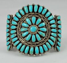 Vintage Sterling Silver and Turquoise Cluster by VintageKismet, $335.00
