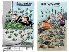A diferença entre parlamentar e para lamentar.
