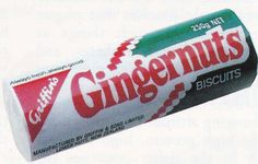 Griffin's Gingernut biscuits 1980s Packet. Gingernuts great for dunking