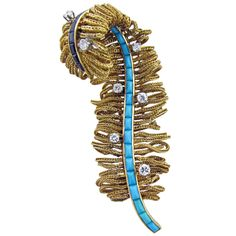 1960s Turquoise French Fringe Feather Brooch