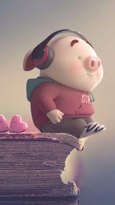 Pig Wallpaper, Cute Panda Wallpaper, Hipster Wallpaper, Funny Phone Wallpaper, Cute Wallpaper Backgrounds, Baby Animal Drawings, Cute Drawings, Panda Wallpapers, Cute Cartoon Wallpapers