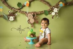 New birthday photography baby smash cakes Ideas Safari Party, Jungle Theme Parties, Jungle Theme Birthday, Animal Birthday, 1st Boy Birthday, Party Themes, Jungle Party, Ideas Party, Birthday Cake