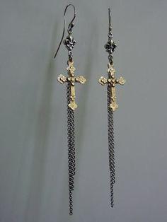 dab9f9367 Earrings Gold Cross Silver Fleur De Lis & Tassel. Gothic EarringsSilver  EarringsCross EarringsTassel EarringsRoman PaulJewelry ArtJewelry DesignUnique  ...