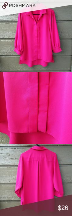 TAHARI Hot Pink Top Gorgeous color! Buttons aren't visible when buttoned. Excellent condition  Feel free to ask me any additional questions. Reasonable offers are considered. No trades, or modeling. Happy Poshing! Tahari Tops