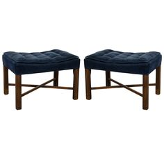 Mid Century Pair of Blue Corduroy Tufted Benches