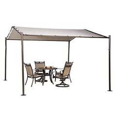 Portable Outdoor Patio Canopy Garden Gazebo 13' x 11.5' Stainless Steel Beige  #PatioCanopy
