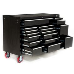 "Industrial and trade quality toolboxes now available. This large 17 drawer tool box is 60"" wide and comes with 6"" castors rated at 900kg. Double drawer slides on the largest drawers. Great for professionals with a large number of tools that need to be moved around. Available for delivery Australia Wide from www.justprotools.com.au"