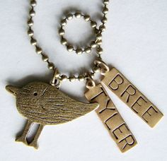 PICK THREE Charm Bead OR Stamped Name Tag plus a Chain by BusyBree, $16.00