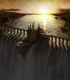 a castle on the edge of a water fall