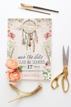 Dream Catcher Save the Date Cards Boho Save the by PaperPeachShop