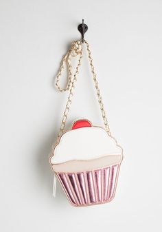 For Sweets' Sake Bag - Pink, Multi, Novelty Print, Chain, Embroidery, Quirky, Darling, Food, Faux Leather