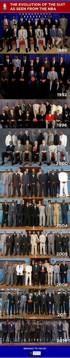 NBA Suit Evolution (1989-2014) #nba #mensfashion #basketball: