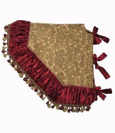 Christmas Tree Skirt Gold ChenilleRed Velvet And Tassel Fringe 72