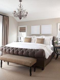 Tufted bed, white art, bench #HomeandGarden