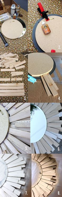 """Supplies: 1 pack contractor shims  12"""" diameter circular cut of wood   14"""" circular mirror (Michael's)  gorilla glue, hot glue gun,2 clamps or hvy books, hook for back of mirror, primer paint (standard primer 's Metallic, painter's tape to cover mirror when you spray"""