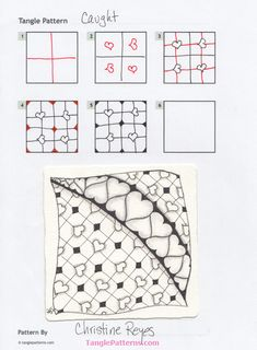 Zentangle pattern: Caught. Image © Christine Reyes and TanglePa