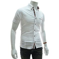 (EVSS20-WHITE) Slim Fit Checker Patched Stretchy Short Sleeve Shirts
