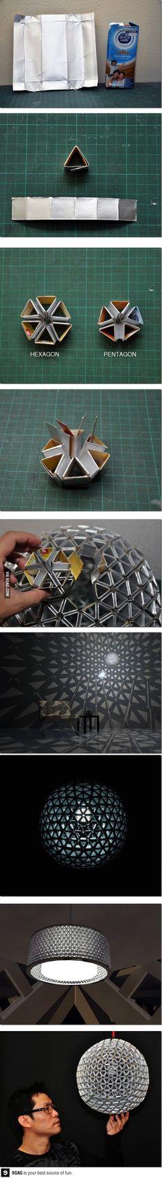 Tetra Pak Origami Lamps