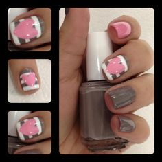 Pale, Striped Nails with Hearts Picture from Nail Designs. Gray and white nails with pale hearts. Get Nails, Fancy Nails, Love Nails, How To Do Nails, Pretty Nails, Hair And Nails, Pink Nails, White Nails, White Shellac