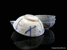 5 old small chinese Bowls for sauces of Swatow Chinese Chinese Tea Cups, Chinese Bowls, Chinese Crafts, Sauces, Porcelain, Pottery, Ceramics, Antiques, Tableware