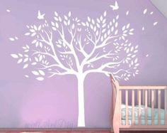 Tree wall decals Nursery cherry tree stencils Pink by WallArtDIY