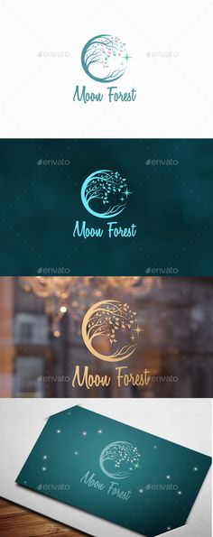 Moon Forest Logo: Nature Green Logo Design Template by vraione. Web Design, Brand Design, Free Logo Design, Vector Logo Design, Logo Design Template, Corporate Design, Corporate Identity, Business Branding, Logo Branding