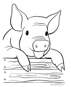 printable free farm pig coloring page
