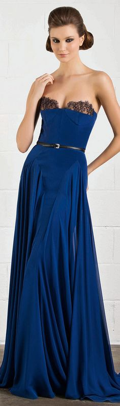 RANI ZAKHEM  sexy cobalt blue with black lace evening gown (strapless)