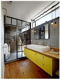bathroom vanity idea and windows. Not the shower though.