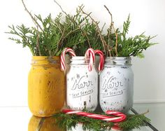 Christmas Mason Jar Decor. Painted Mason by KDubWoodCreations