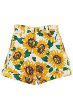 ROMWE | Sunflowers Print White Denim Shorts, The Latest Street Fashion