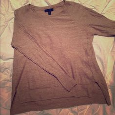 J. Crew Shirt! Tan J. Crew shirt, small hole on back seam, in picture. J. Crew Sweaters Crew & Scoop Necks