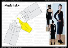 Sewing Pattern/ one sleeve black dress Easy Sewing Patterns, Sewing Tutorials, Clothing Patterns, Fashion Sewing, Diy Fashion, Costura Fashion, Modelista, Couture Sewing, Pattern Cutting