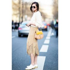 Street Style Trend Report Fringe Skirts found on Polyvore