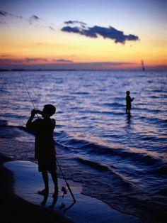 Boys Fishing in Lake Erie, OH.