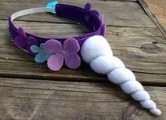 White unicorn horn on purple headband with purple and blue felt flowers - Rarity costume