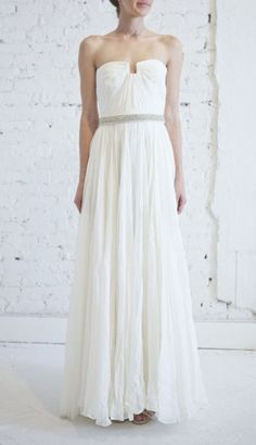 Wedding Dresses: Simple Strapless White Gown