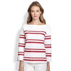 Tory Burch - Cotton Kendall Top White Carn - $135.00 (40% off)