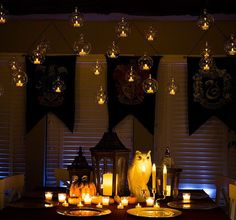 They look just like Hogwarts's floating candles.Get a set of 12 hanging glass globes from Amazon for $15.And get a set of six realistic, flickering tea lights from Amazon for $15.96.