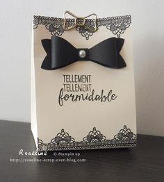 boîte chic avec l'insta pochette Stampin'up. vanille et noir, avec cet effet dentelle. perfo  Noeud, tampons Tant de mercis http://roseline-scrap.over-blog.com/