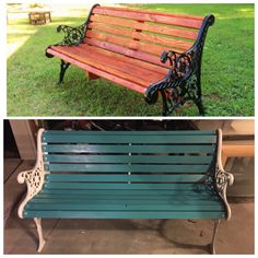 Cast iron bench redone, new boards even! Lots of help from friends on this one lol
