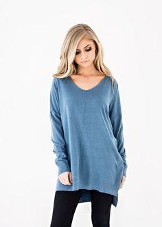 Blue Vneck Sweater - JessaKae. Autumn Winter FashionWinter StyleClassy ... 0ffe0e629