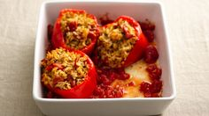 Skinny Slow-Cooker New Orleans-Style Stuffed Peppers - less sat fat 300 Calorie Dinner, 300 Calorie Meals, Low Calorie Recipes, Healthy Recipes, Skinny Recipes, Simple Recipes, Detox Recipes, Light Recipes, Healthy Foods