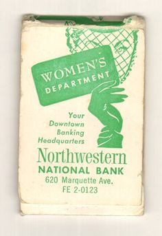 Emery board book from Northwestern National Bank, Minneapolis, Minnesota. The Women's Department offered female tellers, a powder room and lounge, and writing desks... all on the banking floor. From the Hennepin History Museum collection.