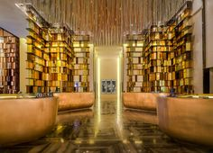 Gold Hotel glam-up in China. Starwood W Hotel designed by Yabu Pushelberg. Hotel Lobby, Hotel Spa, Lobby Lounge, Lounge Chairs, Architecture Details, Interior Architecture, Best Interior, Interior Design, Retail Interior