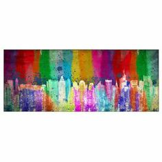"""Create a vibrant focal point above your mantel or next to a picture window with this eye-catching wall art, showcasing a colorful cityscape motif.      Product: Wall art Construction Material: Engineered wood and paper Features: Cityscape motif Dimensions: 16"""" H x 40"""" W x 1.75"""" D     Cleaning and Care: Wipe with dry cloth"""