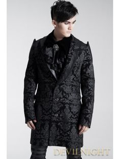 Home > Gothic > Black Pattern Gothic Long Jacket for Men